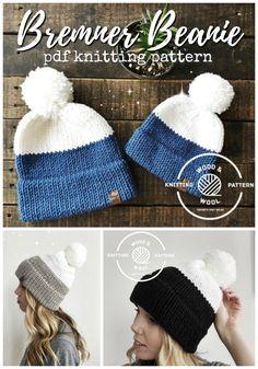 Beanie Knitting Patterns Free, Beanie Pattern Free, Knitting Machine Patterns, Loom Knitting, Baby Knitting, Hat Patterns, Knitting Hats, Loom Knit Hat, Knitting Ideas