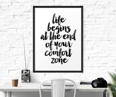 Life Begins At The End Of Your Comfort Zone, Watercolor, Quote Print…