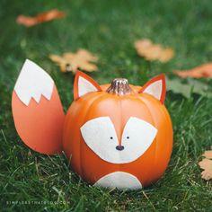 Cute fox no-carve pumpkin.