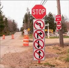 road sign fail!!! Clue to start over..