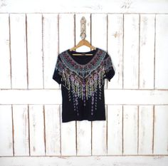 90s black tribal Aztec print tshirt/Indian print top/boho tee/medium by GreenCnynMercantile on Etsy