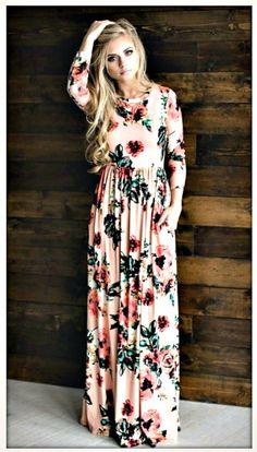 e42d905331d Pink Floral 3 4 Sleeve Elastic Waist Long Summer Maxi Dress