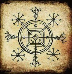 Hulinhjalmur (helm of disguise) from the Galdrabók ~ Icelandic grimoire.  Would be a cool tattoo!