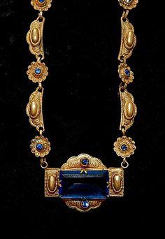 Max Neiger, Czech, Sapphire Glass and Brass Art Deco Necklace