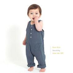 Bene Bene Baby Linen Jumpsuit (Greyish Blue)
