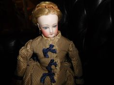 "15""Antique Francois Gaultier (F.G.) French Fashion Doll, Kid Body, Great Clothes"