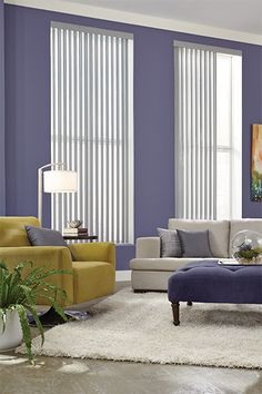 Need some inspiration for your living room windows? Check out the Gotcha Covered idea gallery for ideas on custom blinds, shades, and more. Window Treatments Living Room, Window Room, Blinds Design, Custom Blinds, Blinds, Purple Living Room, Living Room Windows, Window Styles, Room