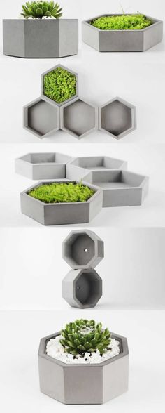 Gray Concrete Geometric Succulent Planter Flower Pot Office Desk Stationery Organizer Tray