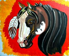 "Paint horse 24""x36"" Acrylic on Canvas Modeled after a study painting done by one of my favorite artists Ezra Tucker (This is my rendition Vanessa Porter Art)"
