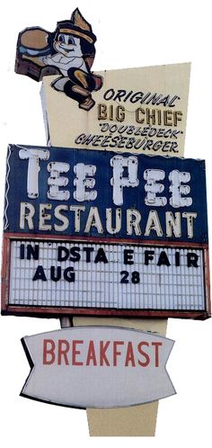 Tee Pee Restaurant ~ Indianapolis, IN This place was just outside the east gate of the Indiana State Fairgrounds. It was a good place to eat. No longer there. Indiana State, Indiana Girl, Roadside Attractions, Roadside Signs, Brown County, Vintage Neon Signs, Tee Pee, Indianapolis Indiana, Old Signs