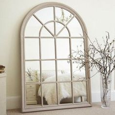 Mirror Decoration You Will Love. Mirror Decoration You Will Love. In interior design, a mirror can be something that has magical power. The mirror can brighten a room that feels dark,. Arched Window Mirror, Arched Windows, Window Wall, Mirror Mirror, Leaning Mirror, Wall Mirrors, Mirror Ideas, Home Living Room, Sweet Home