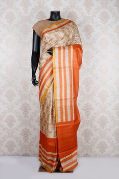 Cream multicoloured printed pure tussar enticing saree with golden yellow border