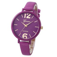 Geneva Watch Women Faux Leather Analog Quartz-Watch Relogio Feminino Simple Big Dial Bracelet Watch Montre Femme