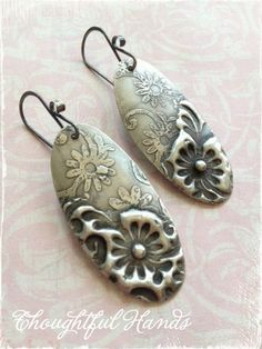 Floral Etched Nickel with Stamped Solder Design by thoughtfulhands, $18.00