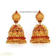 Gold Jewelry Design In India Gold Temple Jewellery, Mens Gold Jewelry, Gold Jewelry Simple, Gold Jewellery Design, Bridal Jewelry, Gold Jhumka Earrings, Gold Earrings Designs, Dangle Earrings, Jewellery Earrings