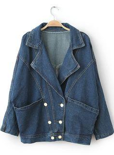 Navy Lapel Long Sleeve Pockets Denim Jacket - Sheinside.com