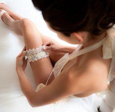 Getting ready! | Jewelled wedding garter by Glitzy Secrets | Photo by Carla Thomas Photography