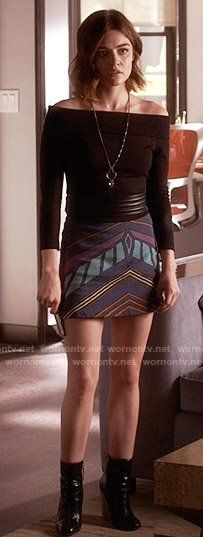 Aria's black off-shoulder top and chevron print skirt on Pretty Little Liars