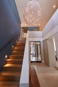 Home Light Fixtures is part of Stair lighting - Lighting on stairs, light fixture Style At Home, Escalier Design, Sweet Home, Stair Lighting, Lighting Design, House Lighting, Lighting Ideas, House Stairs, Basement Stairs