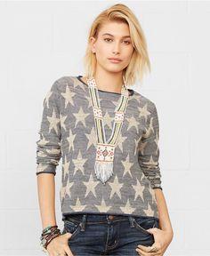Denim & Supply Ralph Lauren Long-Sleeve Star-Pattern Sweater - Sweaters - Women - Macy's