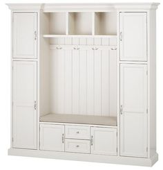 "HomeDecorators.com: Royce All-in-One Mudroom Small: 81.5""H x 60""W x 17""D. Top cubby: 12""H x 24""W x 10.5""D. Bottom cubbies: Each is 6.75""H x 7.5""W x 14""D. Large: 81.5""H x 79.25""W x 17""D. Cubbies: Each is 12""H x 13""W x 10.5""D. Seat cushion: 2""H x 14.25""D. Small: 24""W. Large: 41.5""W. Reg'ly $1,149; Summer '16 sale $1,034."