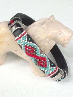 Licorice Leather Peyote Bracelet by Calisi on Etsy