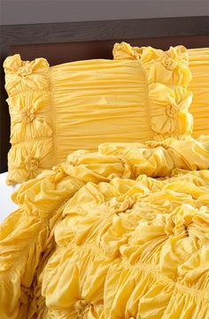 Fluffy yellow sham - looks like sleeping in frosting!