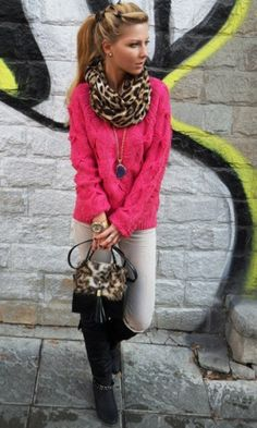 Pink and leopard.