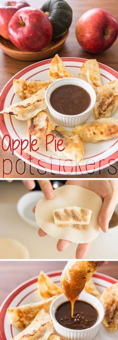 Apple pie potstickers, a fast, easy way to enjoy all the flavors of an apple pie in a bite-sized buttery dumpling.