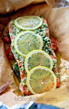 Salmon Baked in Foil with Lemon and Garlic | Feats of Feasts | A Food Blog