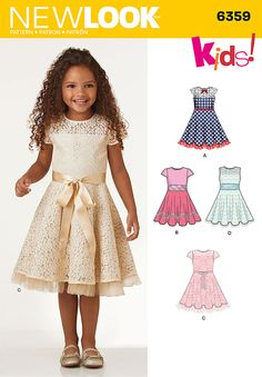 these party dresses for children are perfect for holidays, tea parties, birthdays and more! the sweet touches of lace and trim are just what your princess is looking for. new look sewing pattern.