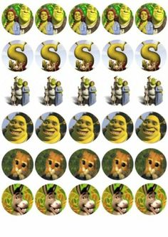 30 x Shrek and Friends Mixed Images Edible Cup Cake Toppers 144   eBay