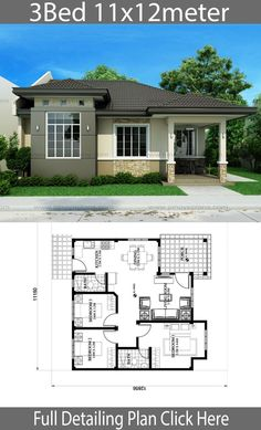Free House Design, Country House Design, Simple House Design, Bungalow House Design, Minimalist House Design, Free House Plans, Simple House Plans, House Layout Plans, Family House Plans