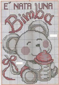 È nata una bimba!!! Cross Stitch Baby, Cross Stitch Patterns, Baby F, Hama Beads, Pixel Art, Baby Animals, Diy And Crafts, Kids Rugs, Homemade