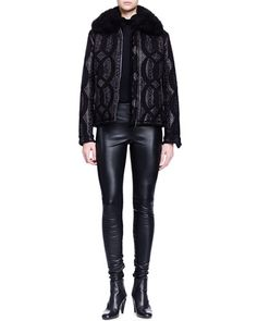 Lanvin Shearling-Trimmed Cable-Jacquard Jacket, Cashmere-Silk Turtleneck Sweater & Skinny-Fit Leather Trouser Fall 2015