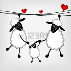 Illustration about Two sheep and litle lamb hanging on washing line - illustration. Illustration of happy, sheep, valentine - 22677610 Sheep Cards, Funny Sheep, Stick Figures, Hand Embroidery Patterns, Heart Art, Fabric Painting, Rock Art, Painted Rocks, Illustration