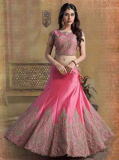 Blend of sophistication and fine design is this beautiful pink lehenga-choli from Aishwarya Design Studio. Buy lehenga choli online - http://www.aishwaryadesignstudio.com/a-line-pink-color-lehenga-choli-in-art-silk-material