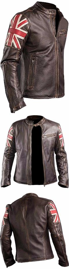 Smart Seller is Launching Men Biker Vintage Motorcycle Cafe Racer Brown Jacket with UK Flag for Our Valuable Customers Who Want to Look Stylish but Decent. This Cafe Racer Brown Jacket is Made from Real Leather Along with the Inward Covering of Viscose to Make it Even More Attractive and More Demand Able. We are Offering 100% Money Back Guarantee as We Want Our Customers to Find Them in Safe Mode. Grab The Offer Today!  #celebrities #antique #fashion #bikers #bikerboys #lovers #fans…