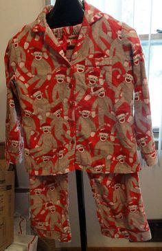 Nick & Nora sz S Pajama Set Sock Monkey Santa Red Brown Flannel Sleepwear EUC LN #NickNora #PajamaSets