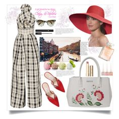 """""""Weekend at Venice"""" by natalyapril1976 ❤ liked on Polyvore featuring Rosie Assoulin, Kenneth Cole Reaction, Attico, Eric Javits, Trademark Fine Art, Stila, Christian Louboutin, Prism and Lancôme"""