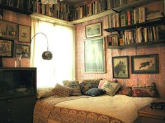 Elegance & Decay: Cozy reading nook #Pink #DesaturatedTones #Books