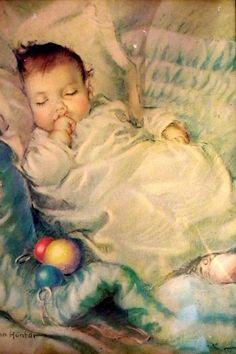 Bebê dormindo, ilustração Frances Tipton Hunter (EUA, 1896 – 1957)