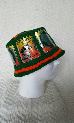 ef37f222889 Spotted Cow Handmade Crochet Beer Can Hat