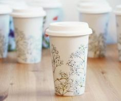 EcoFriendly Painted Ceramic Travel Mug Babys Breath by yevgenia