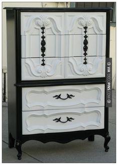 So cool! - Vintage Refurbished Black & White Hollywood Regency Tallboy Dresser. | CHECK OUT MORE DRESSER IDEAS AT DECOPINS.COM | #dressers #dresser #dressers #diydresser #hutch #storage #homedecor #homedecoration #decor #livingroom