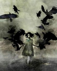 Cool gothic art , girl walks with ravens Crow Art, Raven Art, Bird Art, The Raven, Arte Horror, Horror Art, Dark Fantasy Art, Art And Illustration, Crows Drawing