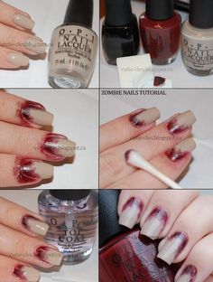 Tutorial for zombie nails - perfect for your DIY Halloween zombie costume Maquillage Halloween Zombie, Soirée Halloween, Halloween Cosplay, Zombie Halloween Costumes, Halloween Tutorial, Werewolf Costume Diy, Halloween Makeup Tutorials, Simple Halloween Makeup, Zombie Cosplay