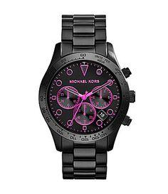 Michael Kors Layton Black IP Neon Pink Dial Accents Watch #Dillards