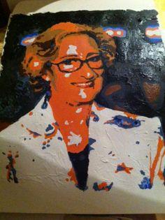 Un vivo retrato, en base a una foto, que combinó acrílico sobre lienzo como regalo de cumpleaños.