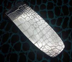 Contoured Alligator Handsome Full Fold 935 Argentium Sterling Silver big super thick money clip by Phantom